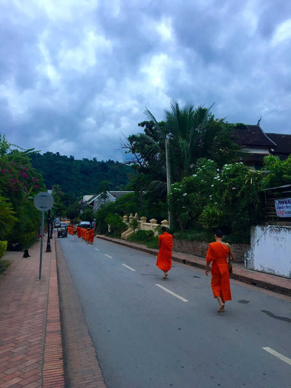 Monks walking down the road