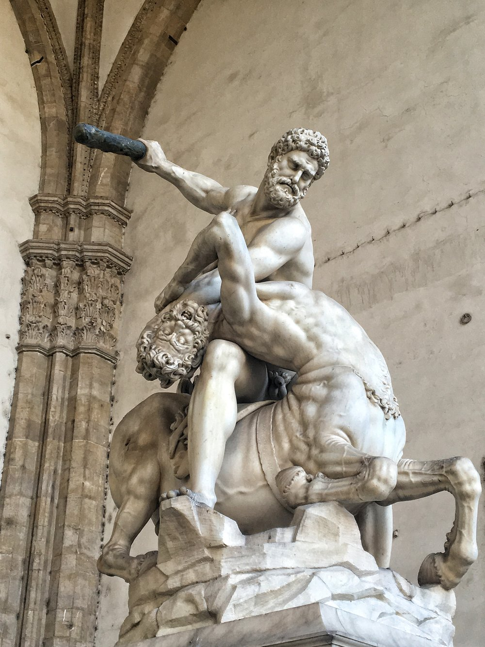 One of my favorite sculptures in Florence - Hercules and the Centaur Nessus (1599). Check out that detail.