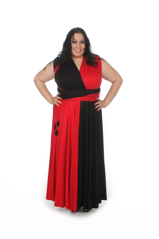 Floor Length Harlequin Inspired Convertible Dress
