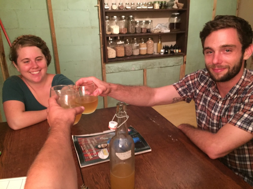 Linz Benford and Pete enjoy Fall 2014 foraged cider we made (not for sale, personal batch)