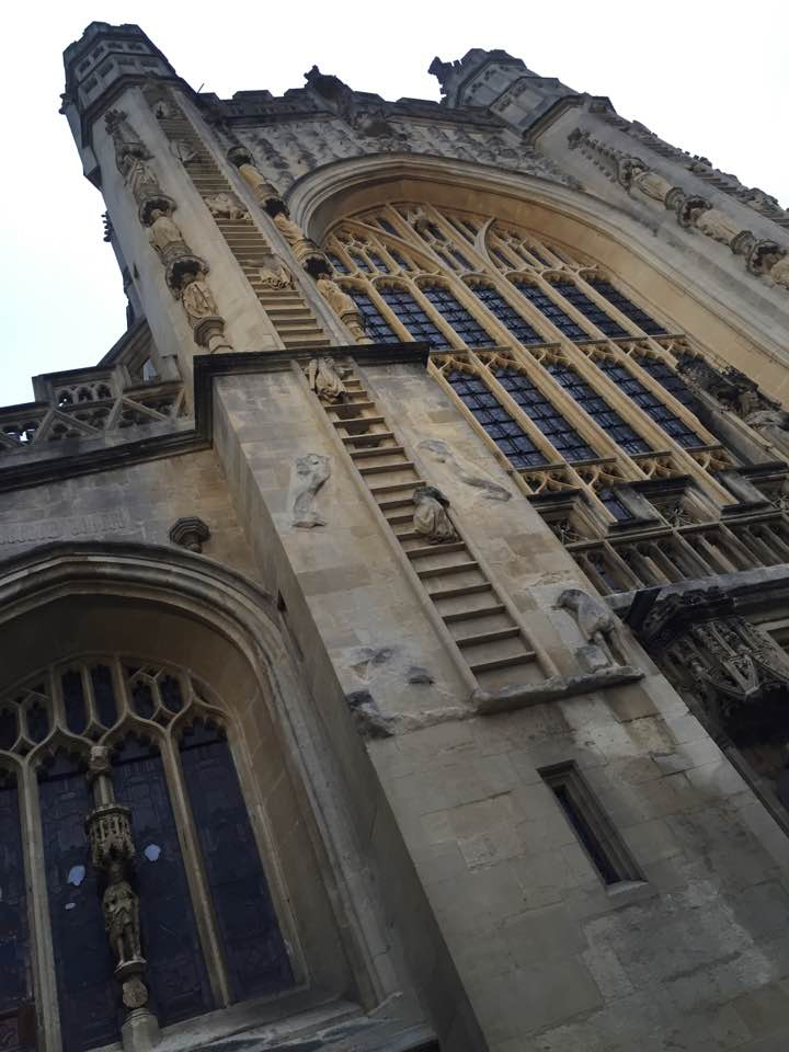 Angels climbing the Bath abbey