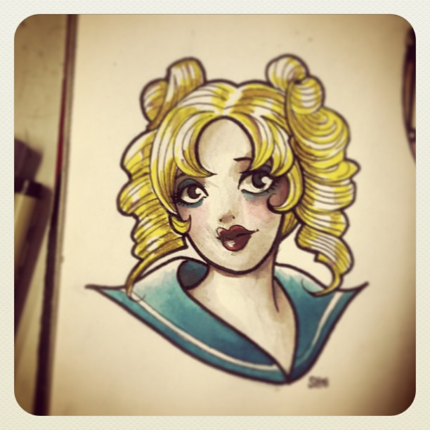 daily doodle -- sailor jerry/sailor moon mash-up