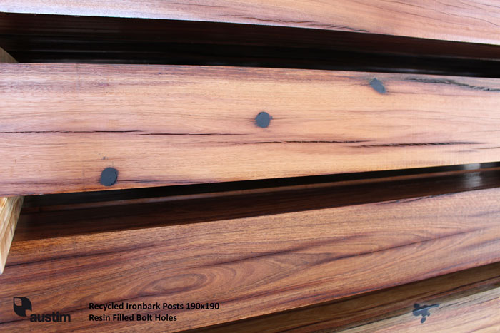 Spotted Gum Blend Posts 190x190 - Dressed, Black Resin Filled and Oiled