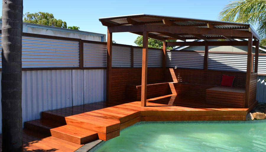 how to build a timber deck around a pool