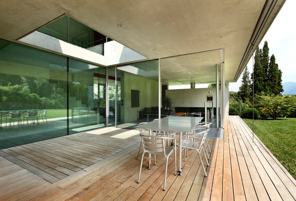 modern home with recycled timber deck