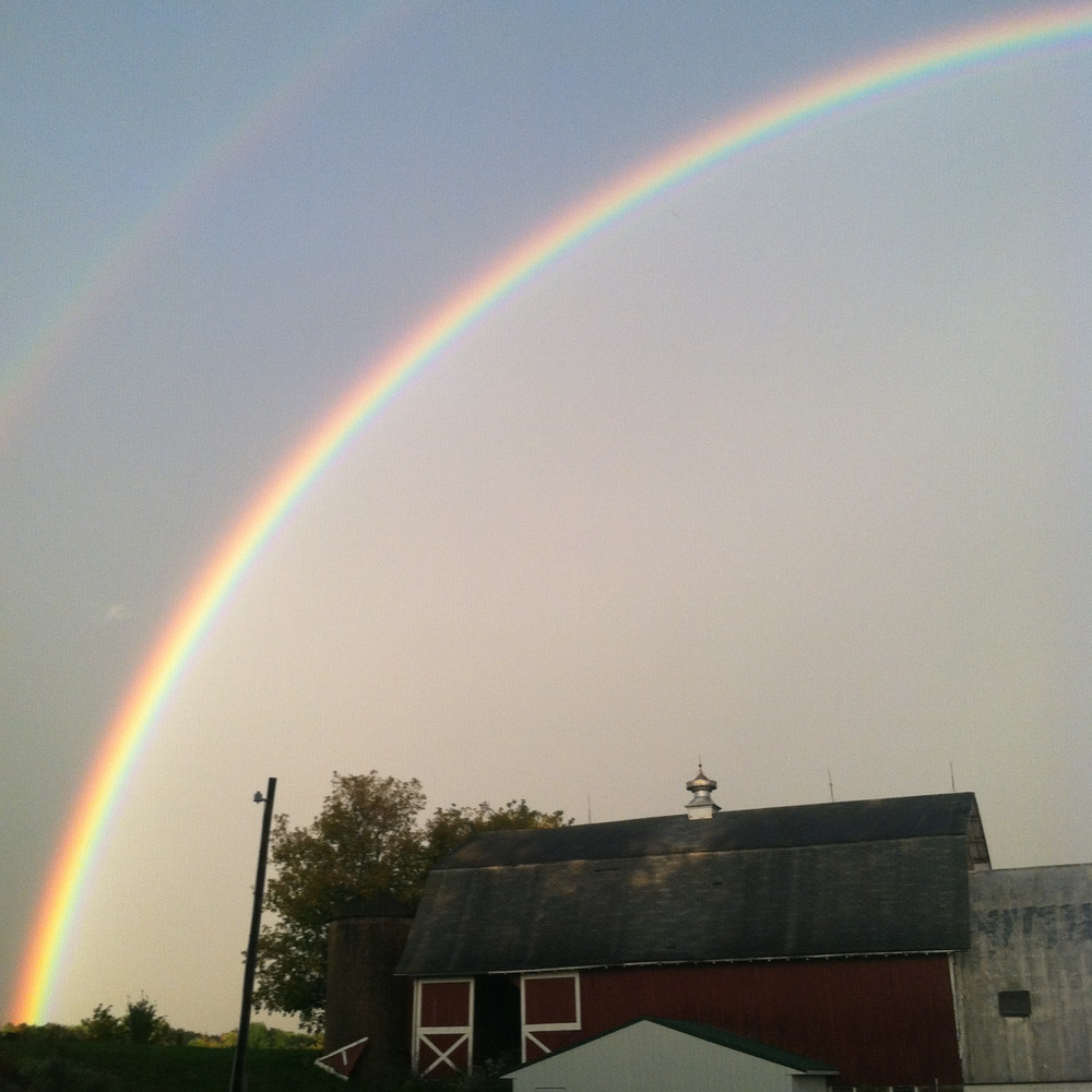 A big hug from the sky! A double rainbow right over the barn after the harvest party rainstorm!