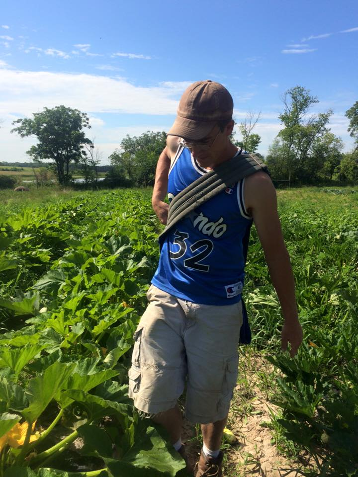 Shaq harvesting squash... just kidding, that's just Josh in a Shaq jersey ;)