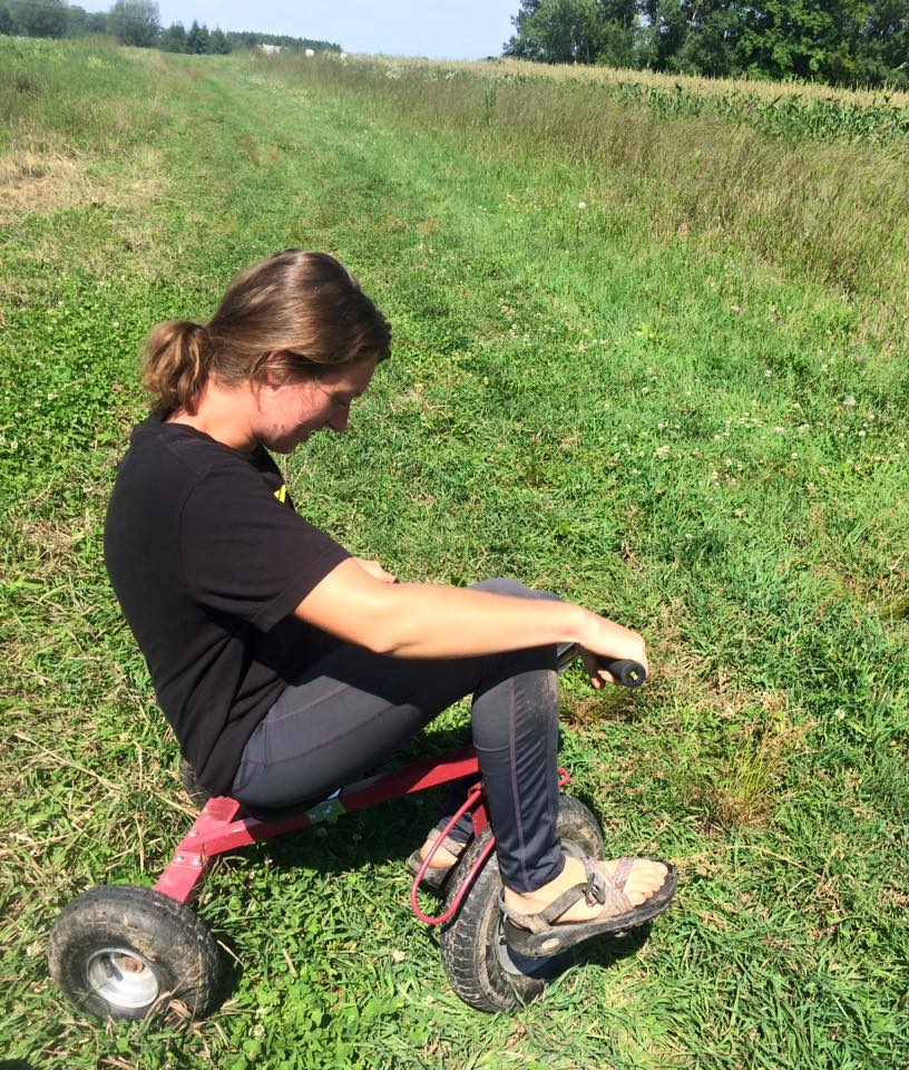 Farm fun!  Kelsie trying out Otto's trike