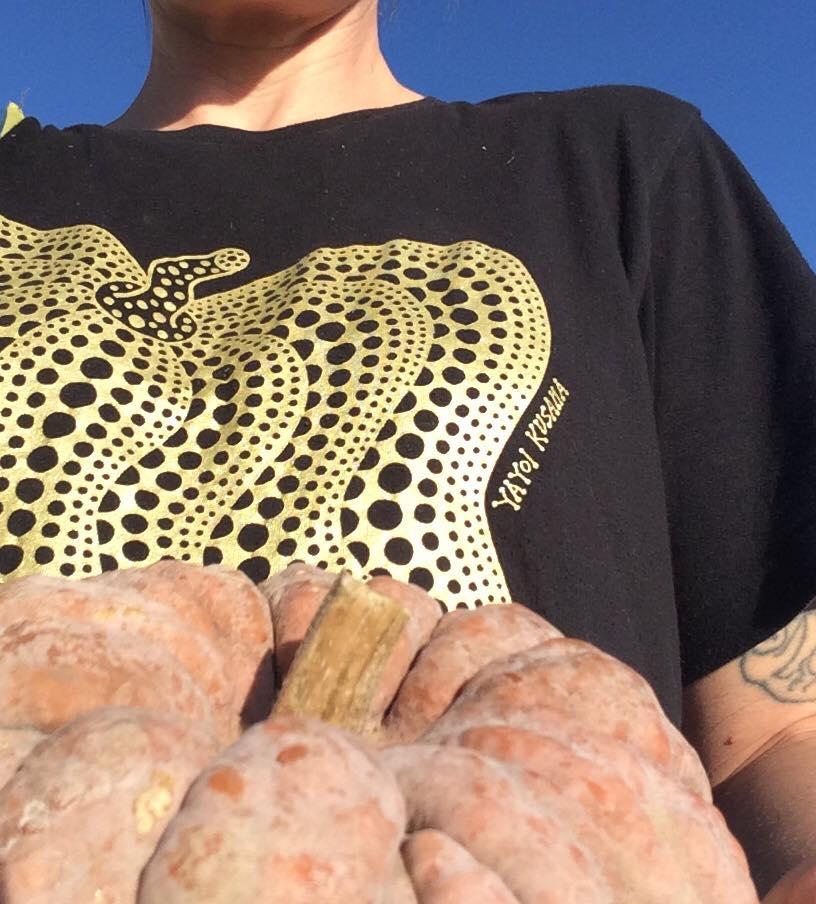 This farmer still loves art. Pretty sure Yayoi Kusama's pumpkins are based on black futus.