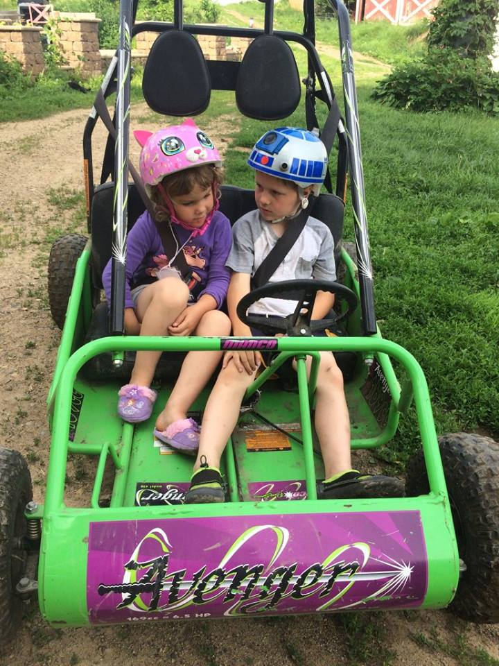 Happy Summertime!  Thanks for the go-cart, Grandpa Mark.  Otto invites you to the farm for a ride anytime!