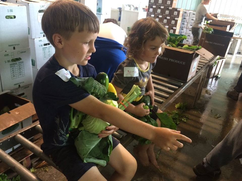Sadie and Otto riding on the pack line pretending to be CSA boxes. They gathered these veggies and brought them inside so they could have their own veggies to prepare.