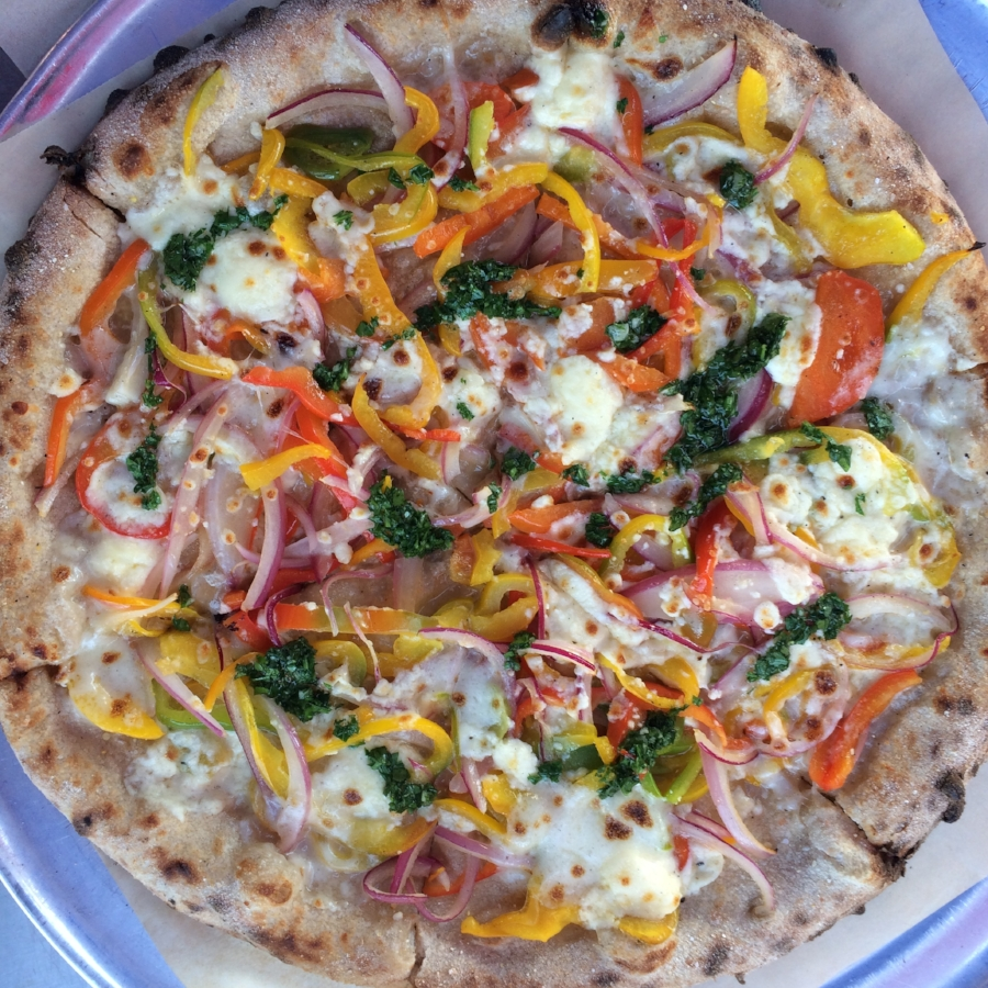 beautiful Northern Fires Pizza with Cosmic Wheel Creamery Cheese