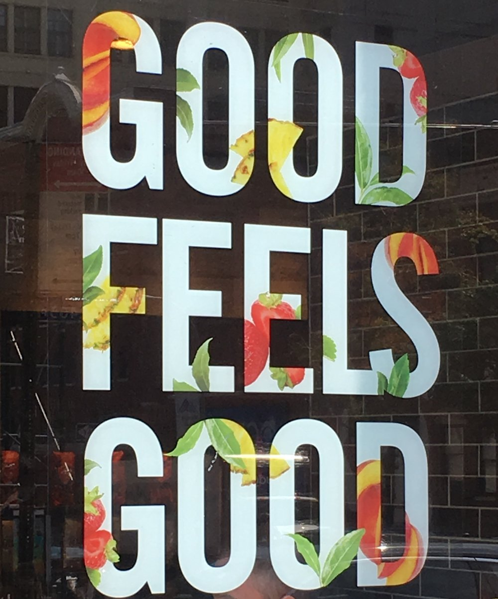 "STARBUCKS ""GOOD FEELS GOOD"" NEW MOTTO WELCOMED US TO NYC"