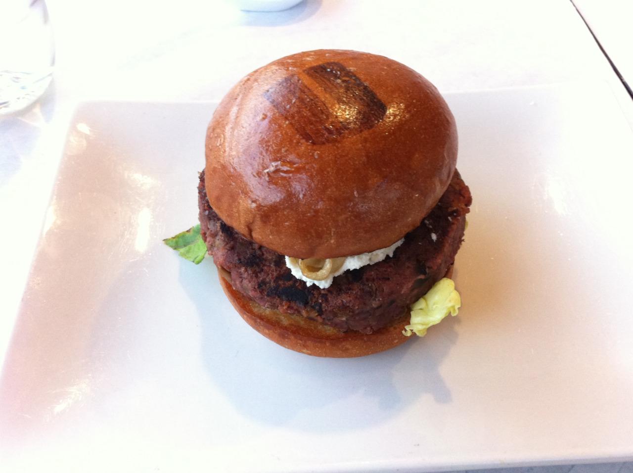 Umami Burger, Los Angeles     umamiburger.com     Earth Burger -Mushroom and edamame patty, white soy aioli, truffled ricotta cheese, cipollini onions, butter lettuce, slow-roasted tomato