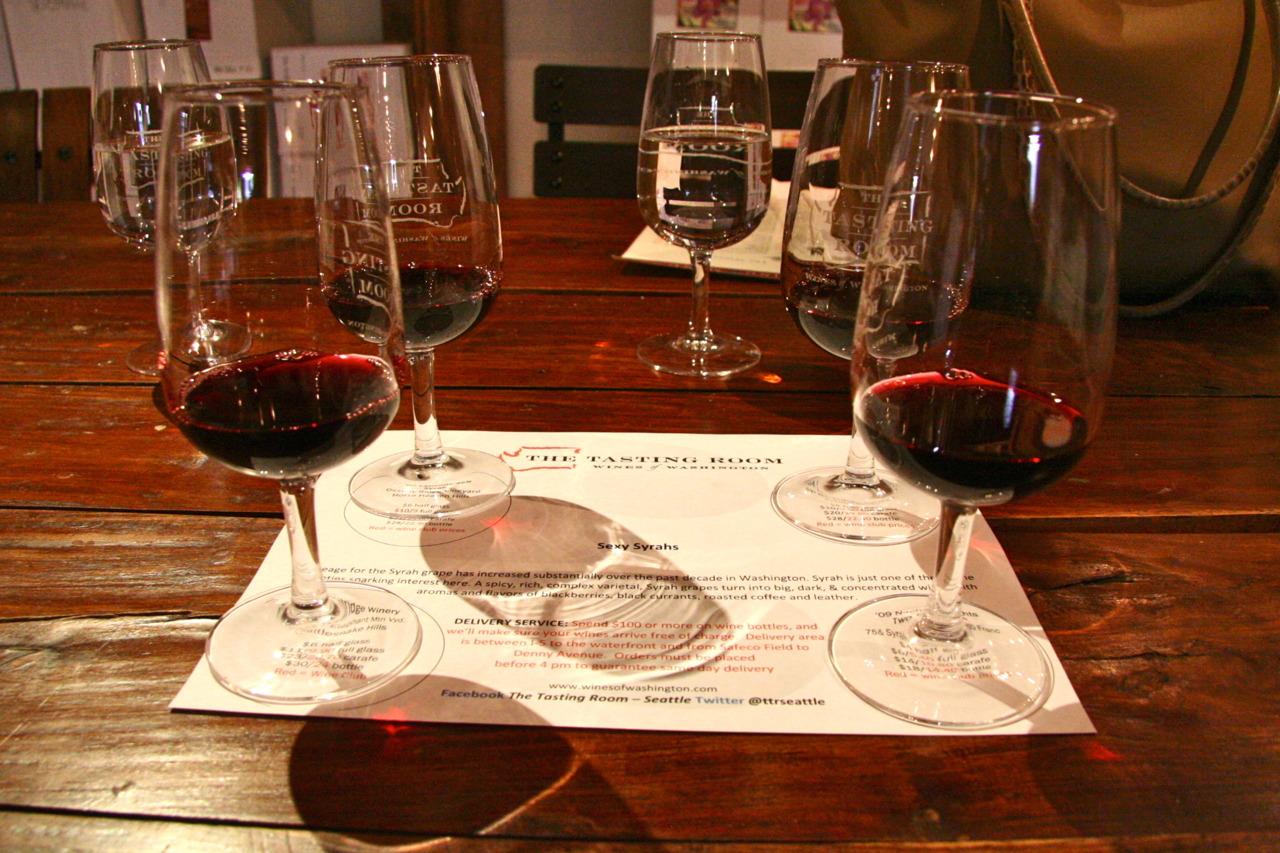 Syrah Flight at The Tasting Room, Seattle     tastingroomseattle.com