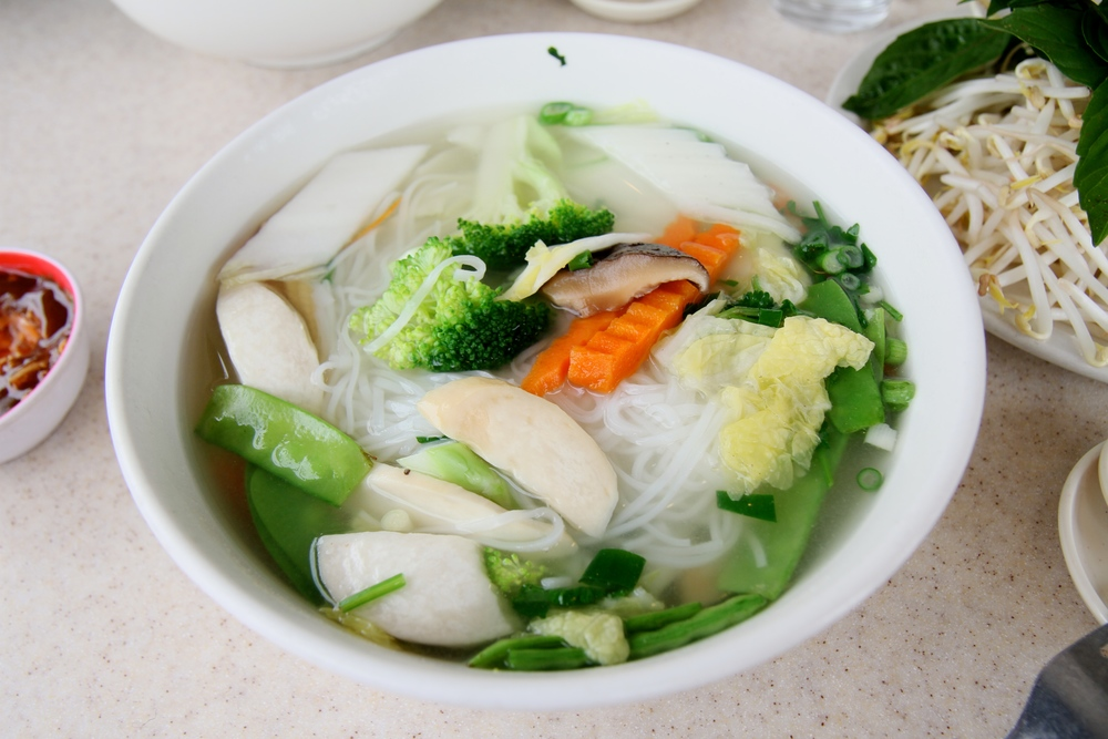 Vegetarian Pho! With broccoli, cabbage, snap peas, carrots, baby corn, and mushroom