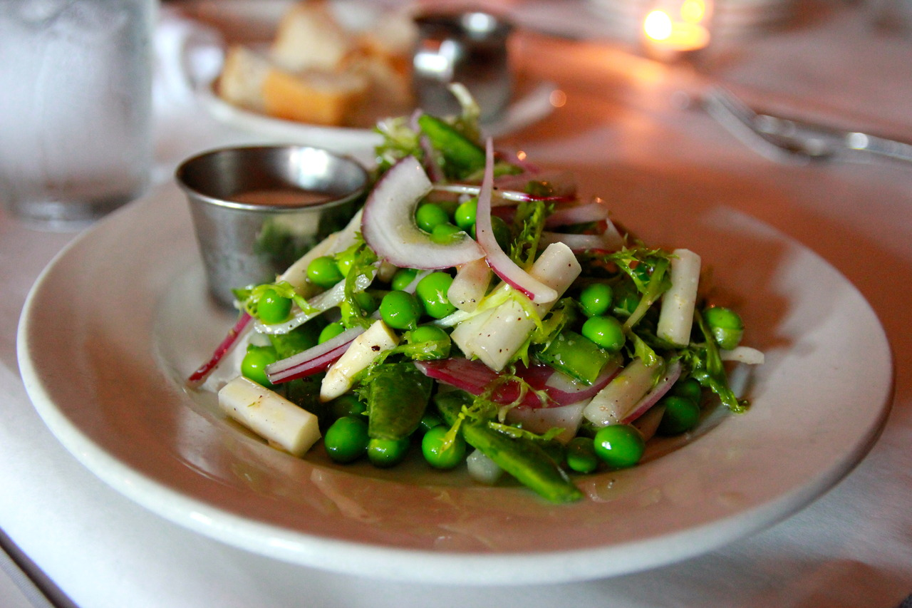 HB Restaurant,  Chicago     homebistrochicago.com     SPRING SALAD - english peas, white asparagus, sugar snaps, spring onion, frisee, sea beans, creamy green garlic dressing