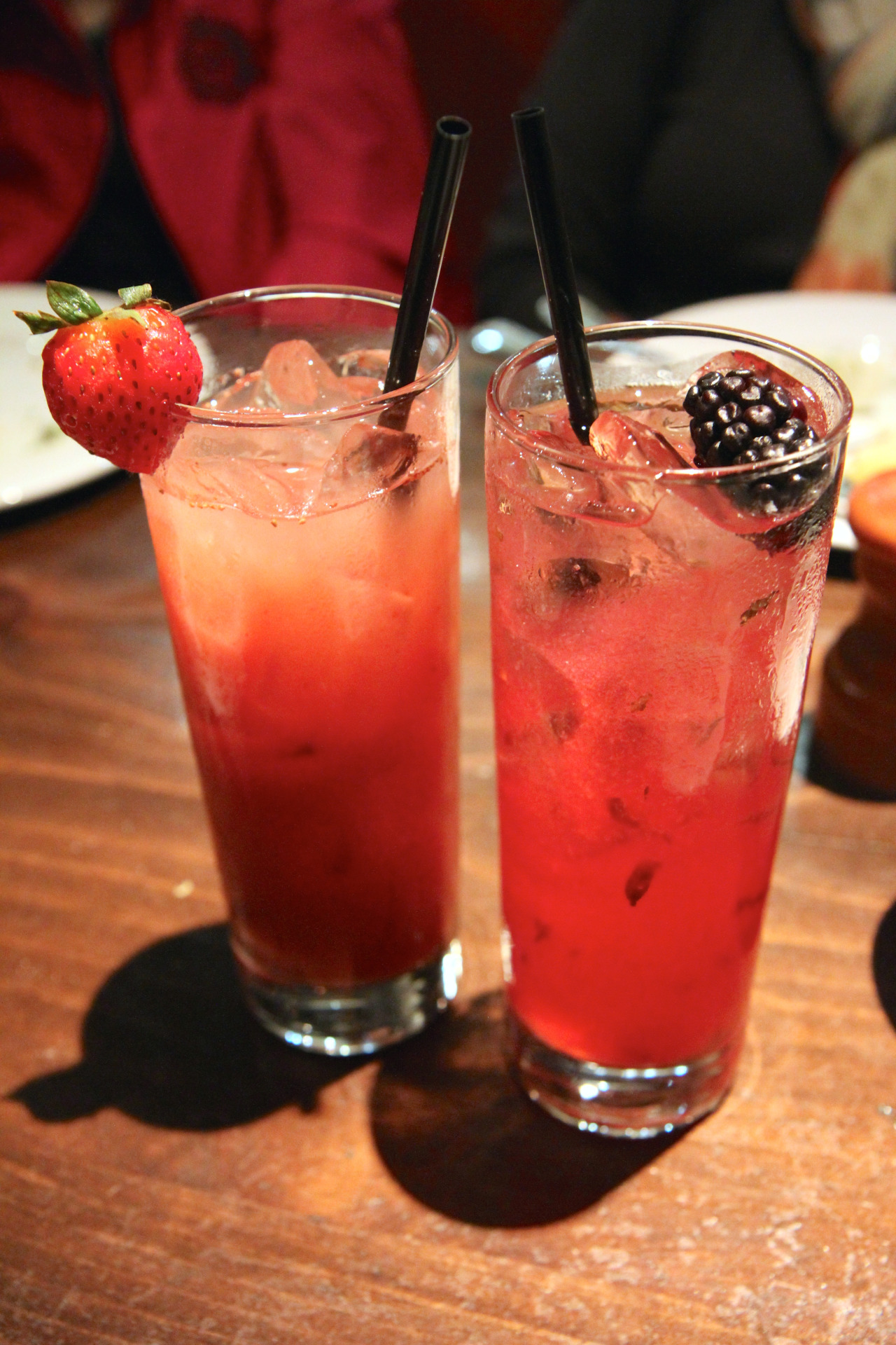 Watermelon & strawberry cooler (left); Blackberry & lychee lemonade (right)