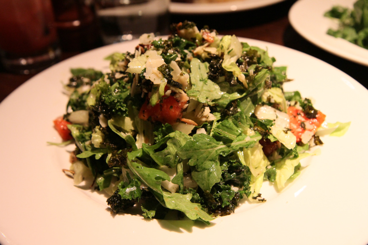 Crispy Kale Salad - papaya, pumpkin seeds, dates, parmesan, white balsamic vinaigrette