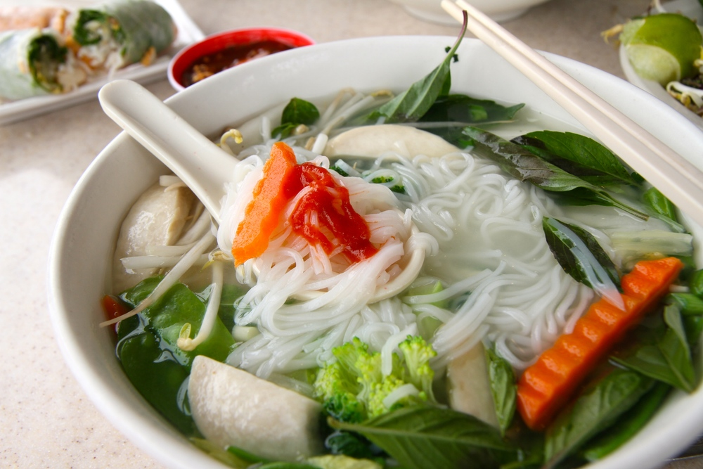 All sorts of delicious goodness in my spoonful of pho with Sriracha!
