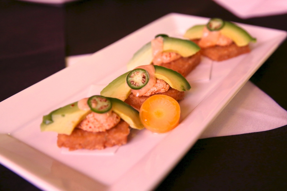"Spicy ""Tuna"" on Crispy Rice Spicy tofu, avocado and sliced green chili on crispy brown rice"