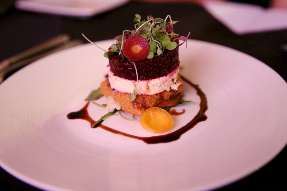 Shojin Crab Cake Tartar Shojin style crab!cake, tofu cheese and roasted beets. Served with balsamic tamari sauce