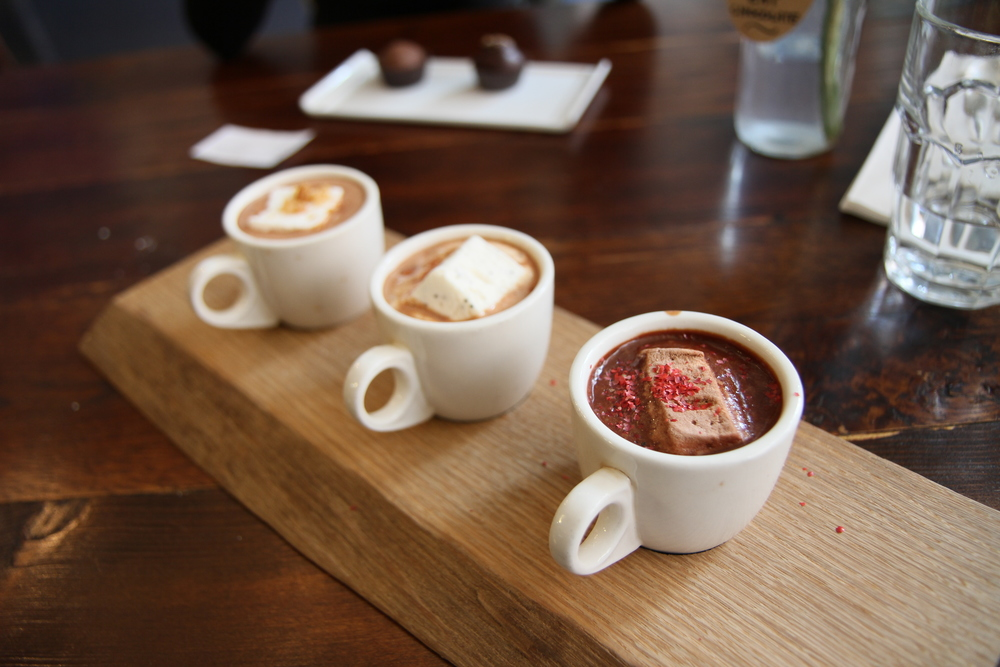left to right: Hazelnut, Salted Caramel, and Mexican Hot Chocolate flight paired with marshmellows