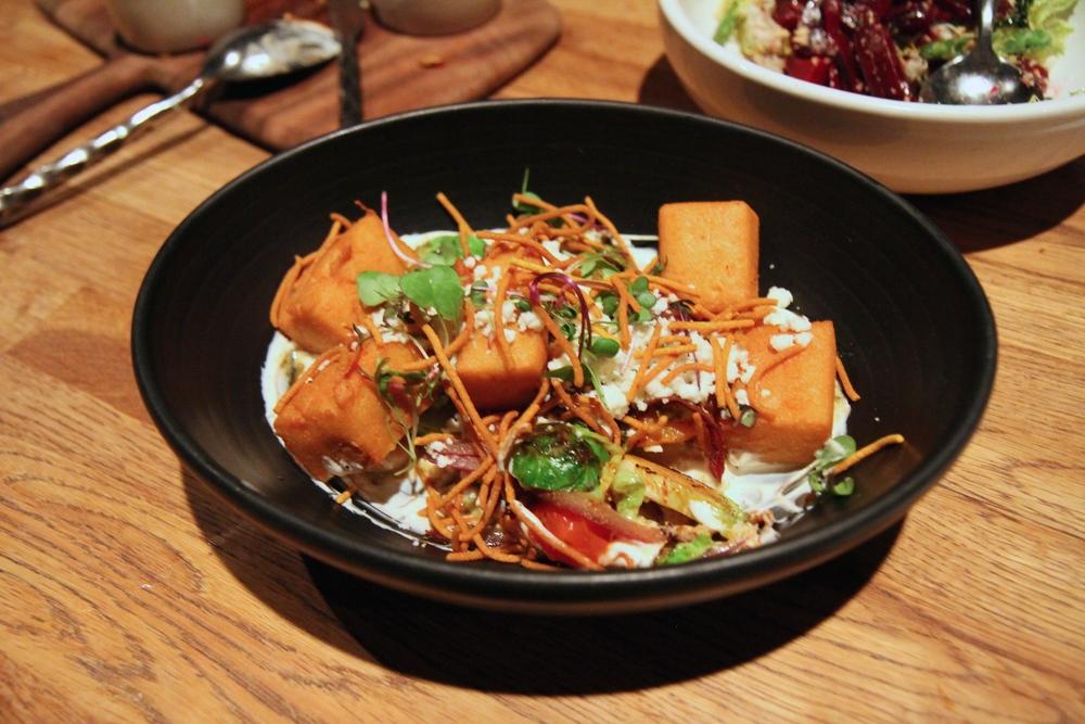 Chickpea Fritter | garam masalla yogurt, brussels sprouts, winter squash, shee's feta
