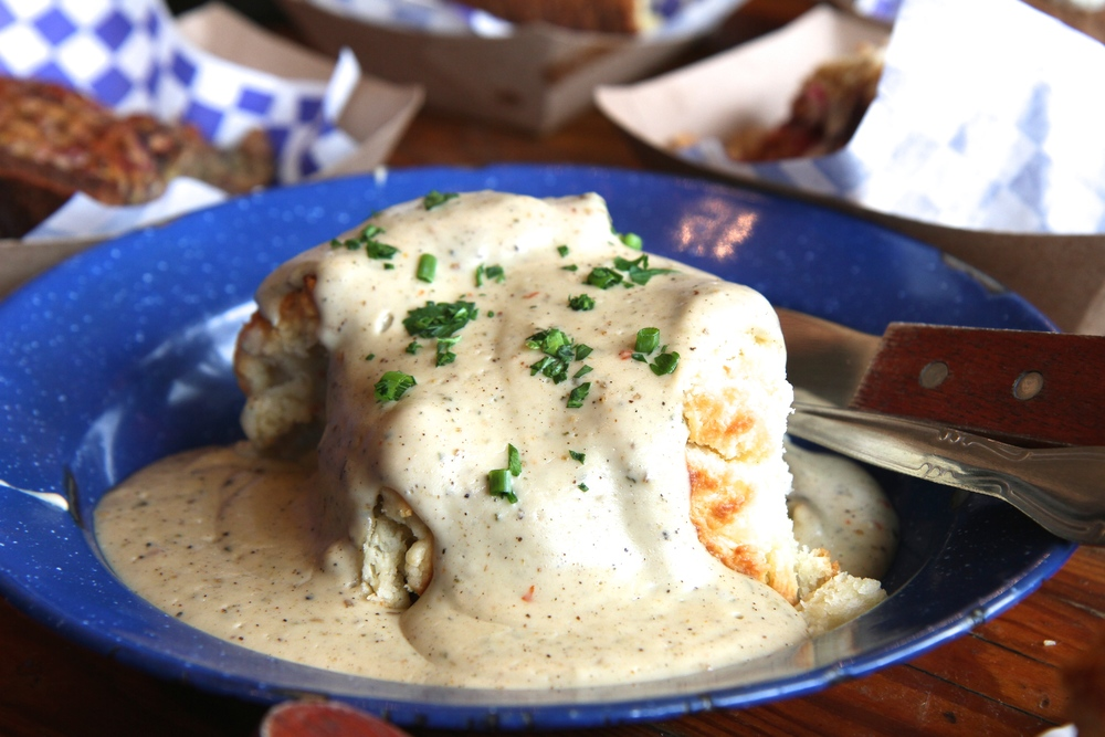 Biscuits and gravy - yes, that's right - VEGETARIAN GRAVY!