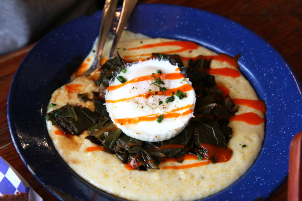 Fancy Grits | cheddar grits, smoked collard greens, poached egg + hot sauce