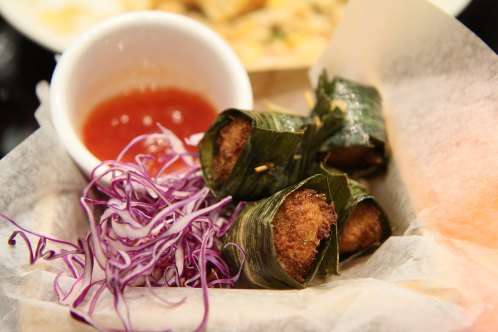 "Pandan soy bites | soy ""meat"" wrapped with pandan leaves served with sweet chili sauce"
