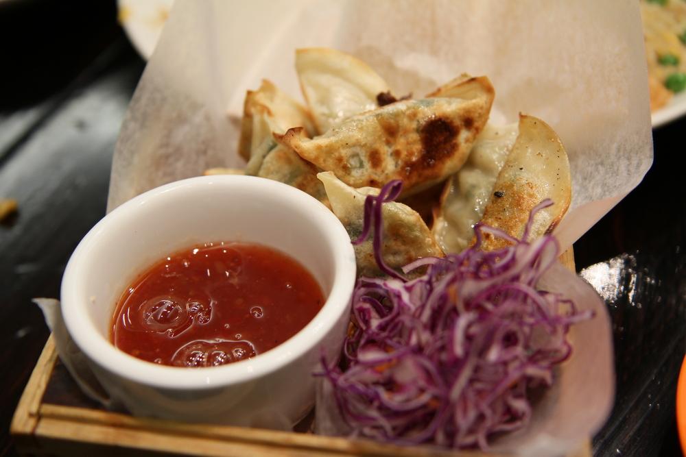 Pan fired leek vegetable dumplings