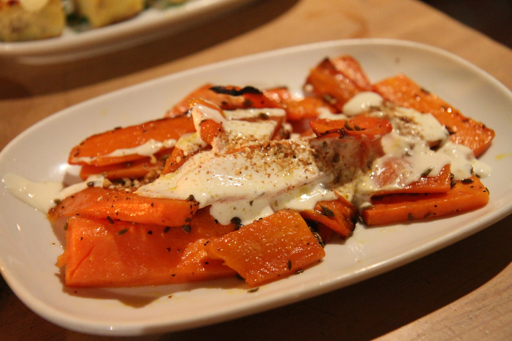 Roasted Carrot Mezze | garlic yogurt, fennel dukkah and chili oil
