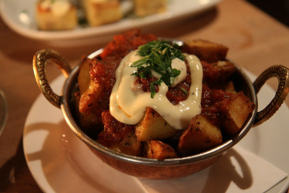 Patatas Bravas with a garlic aioli sauce