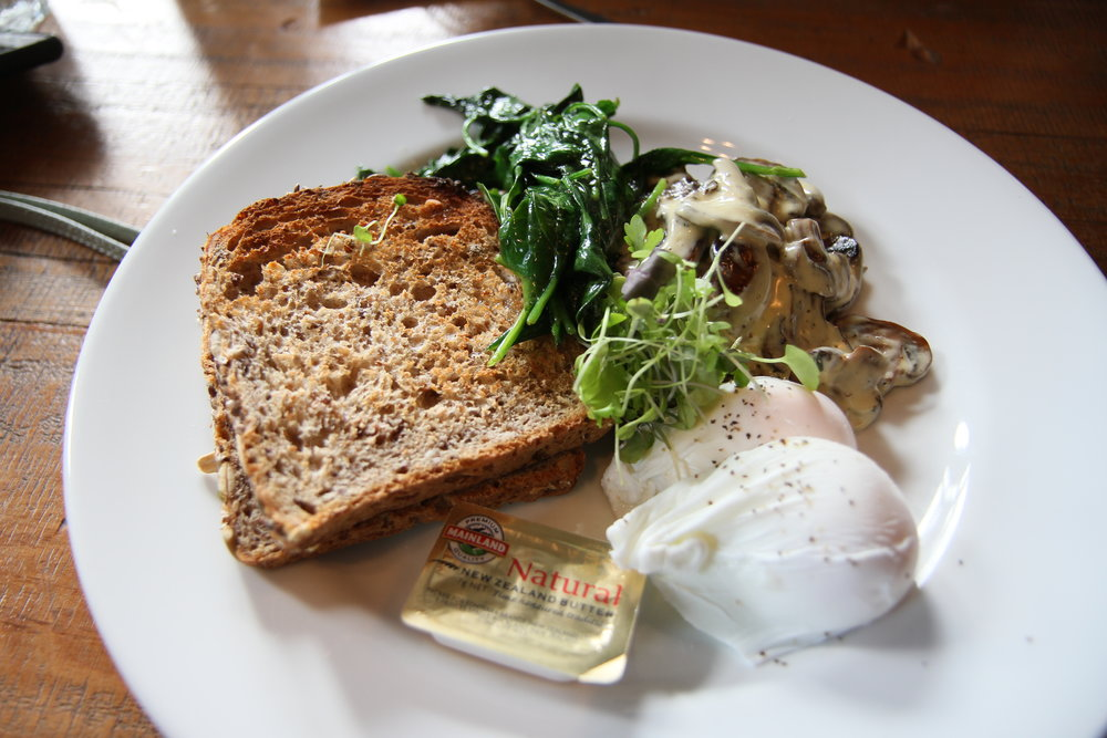 Any 2 items on toast: Poached eggs and mushrooms
