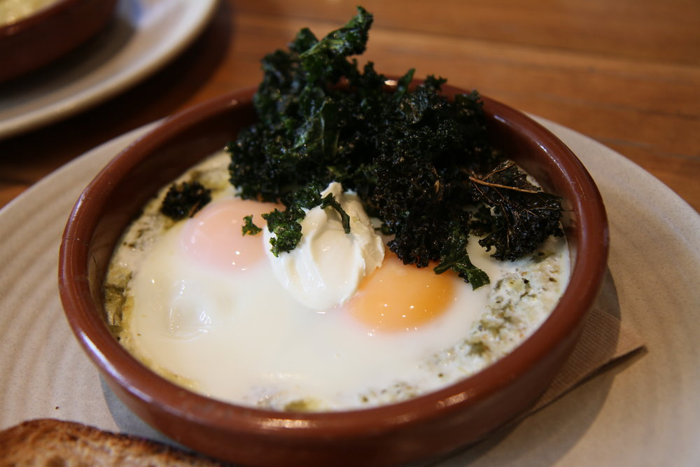 Soft Baked Eggs with habanero salsa, kale, and garlic toast with labneh