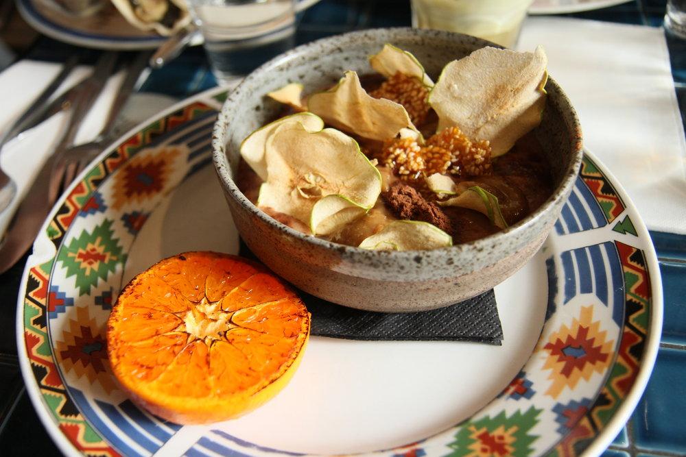 Horchata Porridge  | milo, sultana syrup, apple bark, charred mandarin, sesame snaps