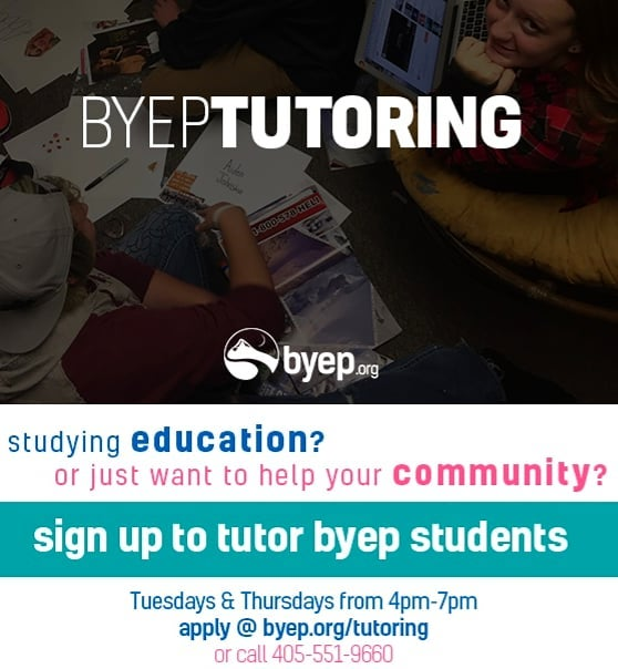 Want to make a difference, but don't have a ton of time to give? Try tutoring! With 3-6 hours every week you can help BYEP students reach their goals and surpass their expectations for themselves! 😊