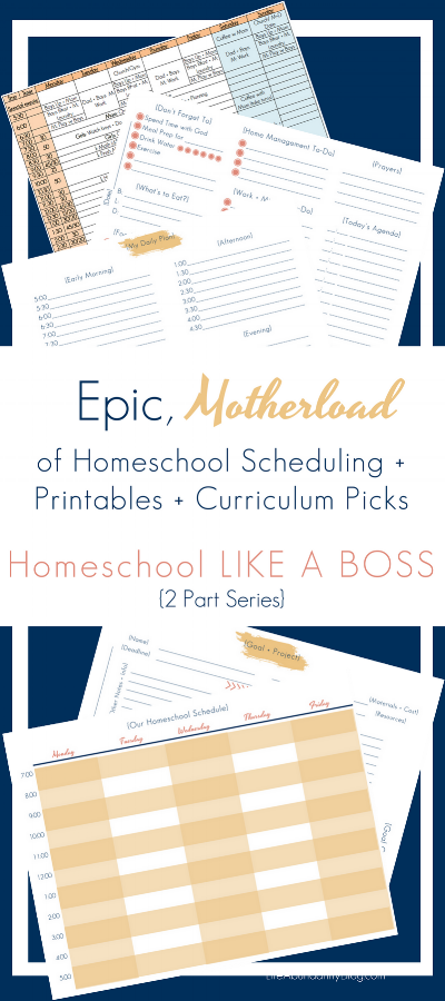 SUPER detailed post with all types of links for curriculum, scheduling and of course FREE printables. These are just for homeschool moms who either also work or have ministry responsibilities. GREAT collection of information about all kinds of curriculum too! Love!