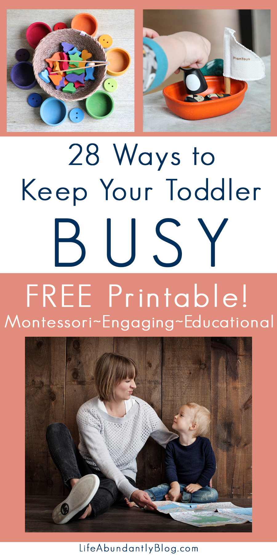 """Respect all reasonable forms of activity in which the child engages and try to understand them."" -Maria Montessori This is a free printable filled with great ideas for engaging your toddler in productive, beneficial activity throughout the day!"