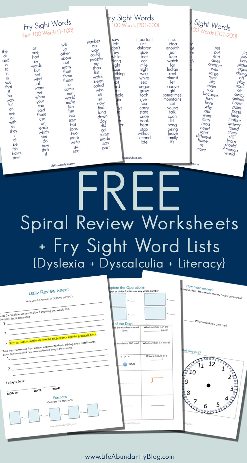 Worksheets Worksheets For Dyslexia free spiral review worksheet 300 sight word list dyslexiareading dyslexiareadingmath life abundantly