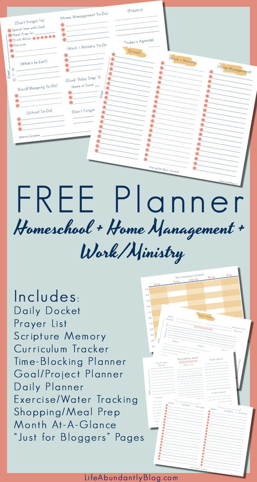 Need a printable planner that's PERFECT for homeschooling AND home management AND working from home or ministry obligations? And you want it to be pretty and free? You've found it! It includes an awesome daily docket to keep EVERYTHING in one place!
