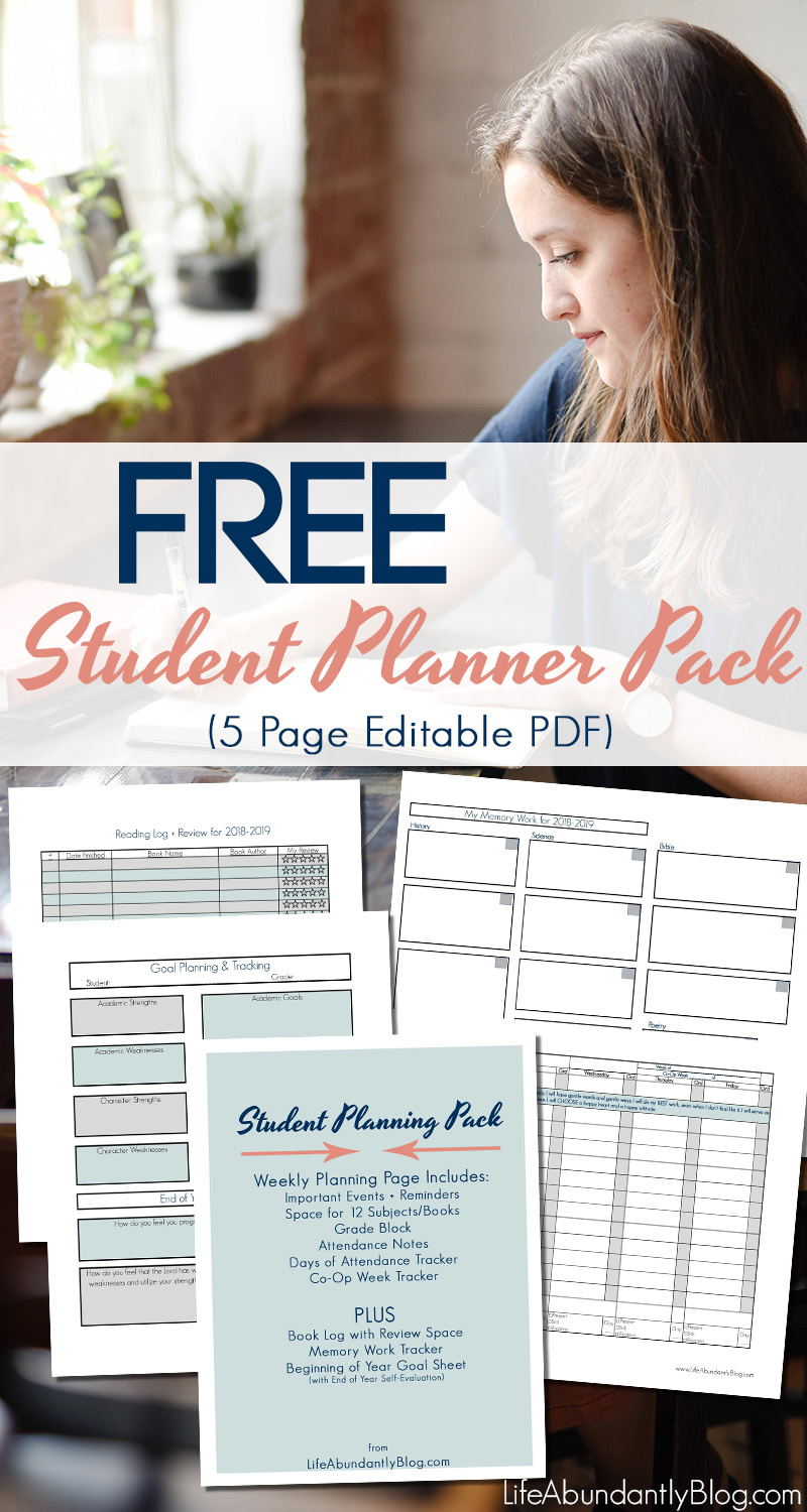 Looking for the PERFECT planner for your homeschool student? Need to plan assignments, track grades and attendance along with books read and goals for the year? This is the FREE planner for you!