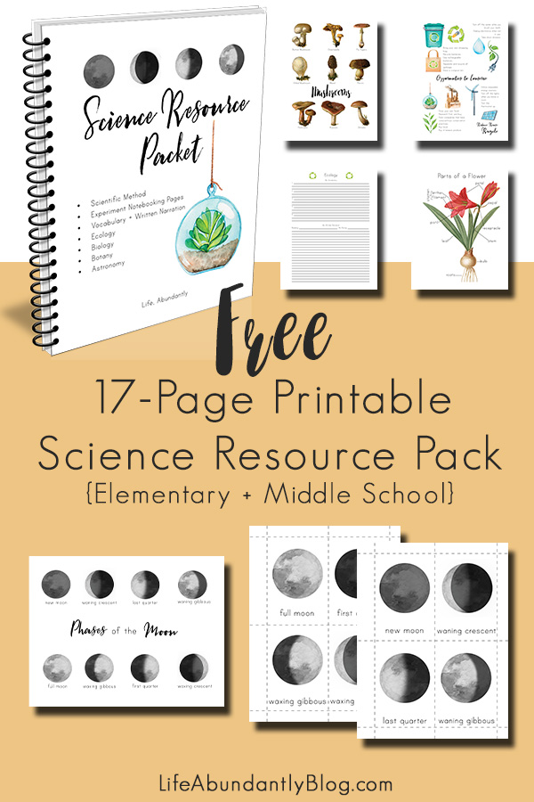 Need some super cute notebooking pages? Are you studying phases of the moon, fungi, ecology, or flower parts? This FREE printable science packet has it all!
