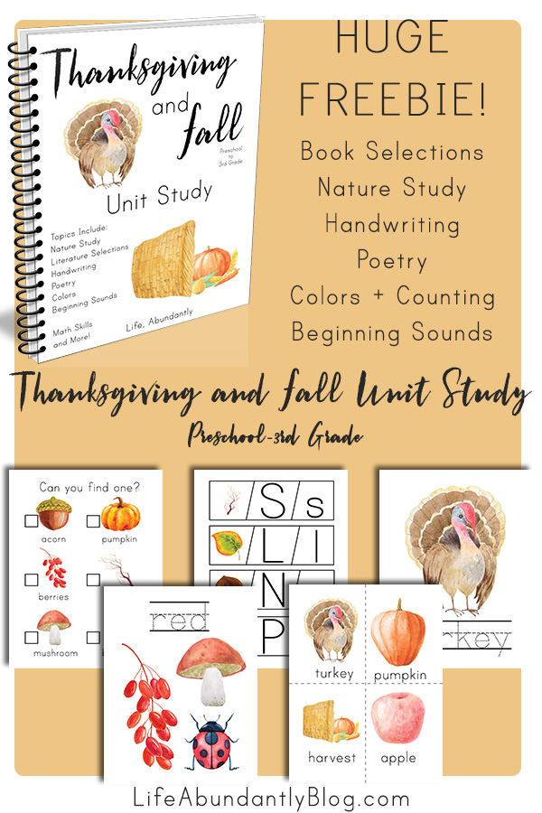 Thanksgiving and the fall season usher in fun activities, outside adventures, and family-focused memories that last a lifetime. You don't want to miss this Thanksgiving and Fall Unit Study! This is both a Preschool Thanksgiving Unit study AND an elementary Thanksgiving Unit Study. Your whole family can use this fall unit study together!