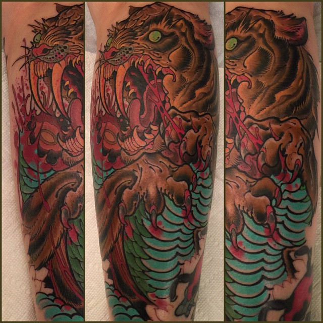 tiger-creature-scary-critter-sleeve-tattoo-LA-LosAngeles-besttattoo-besttattooartist-besttattooartists-top-pictures-images-photo-tat-ink-inked-robgoodkind-guestartist-rabblerousertattoo