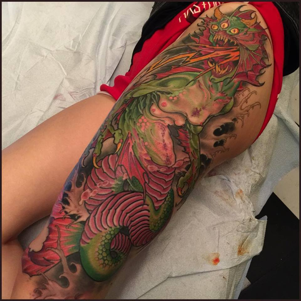 tattoo-LA-LosAngeles-besttattoo-besttattooartist-besttattooartists-top-pictures-images-photo-tat-ink-inked-robgoodkind-guestartist-rabblerousertattoo-demon-dragon-creature-legsleeve