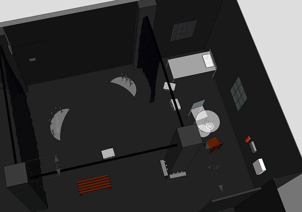 A bird's eye view of the installation from a SketchUp screenshot.