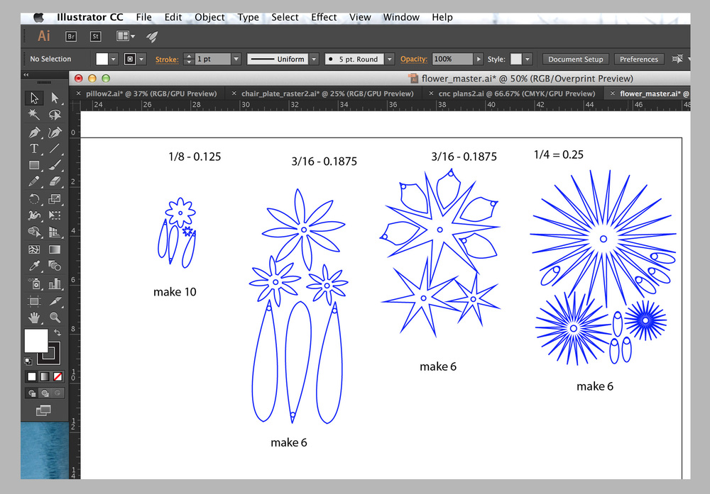 The master Adobe Illustrator file for laser-cut acrylic flowers.