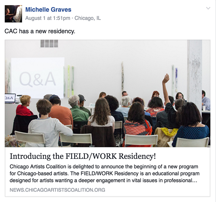 A recent Facebook post from alumni group co-founder Michelle Graves.